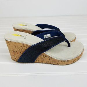 Volatile Navy Blue Cork Wedge Thong Sandals Sz 10